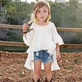 Nueva Primavera de algodón para niñas de 1-6 años de envío blanco corte flare manga princesa vestido de chica de moda vestido de verano 2017