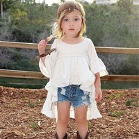 New Spring Cotton For Girls 1 6 Years Free Cut White Flare Sleeve Princess Dress Fashion