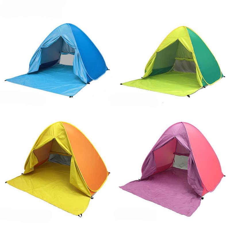 XL boyutu Pop up otomatik kurulum kamp plaj çadırı perde ile hızlı açık açık UV50 + koruma taşınabilir plaj çadırı