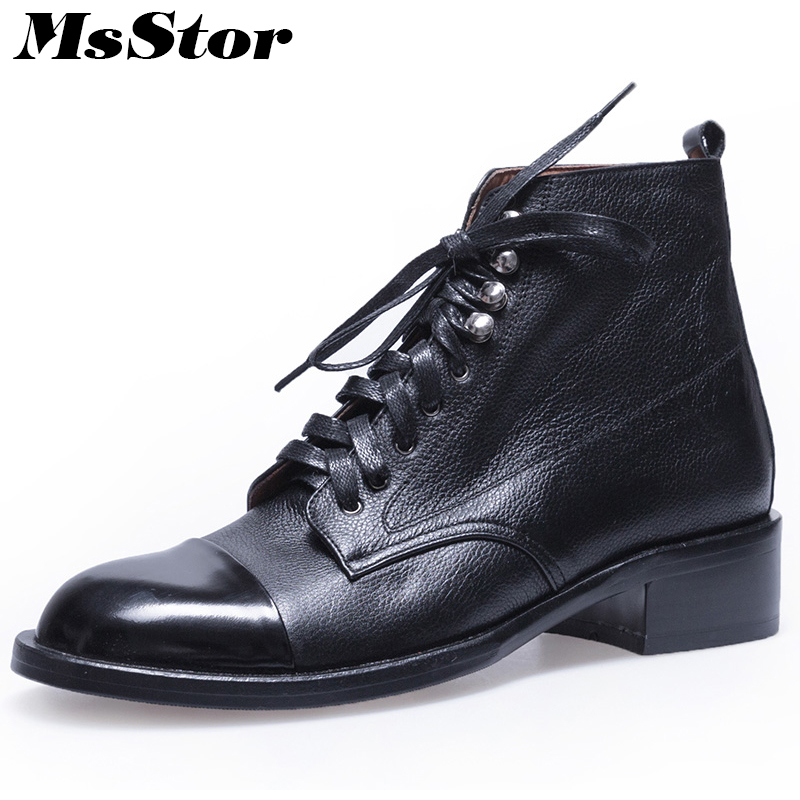 Msstor Women Boots Round Toe Lace Up Ankle Boots Women Shoes Elegant Low Heel Square heel Genuine Leather Boot Shoes For Girl цена 2017