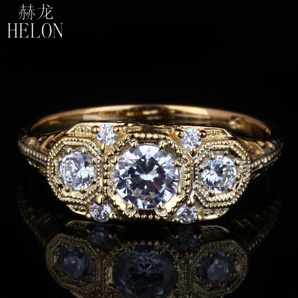 HELON Special Antique Vintage Engagement Wedding AAA Graded Cubic Zirconia Sterling Silver 925 Ring For Women Ring wholesale