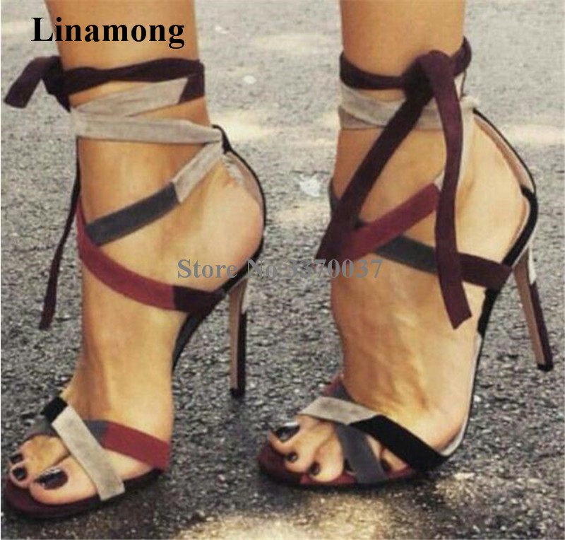 купить Newest Women Fashion Open Toe Suede Patchwork Thin Heel Gladiator Sandals Cut -out Strap Cross Colorized High Heel Sandals по цене 4614.99 рублей