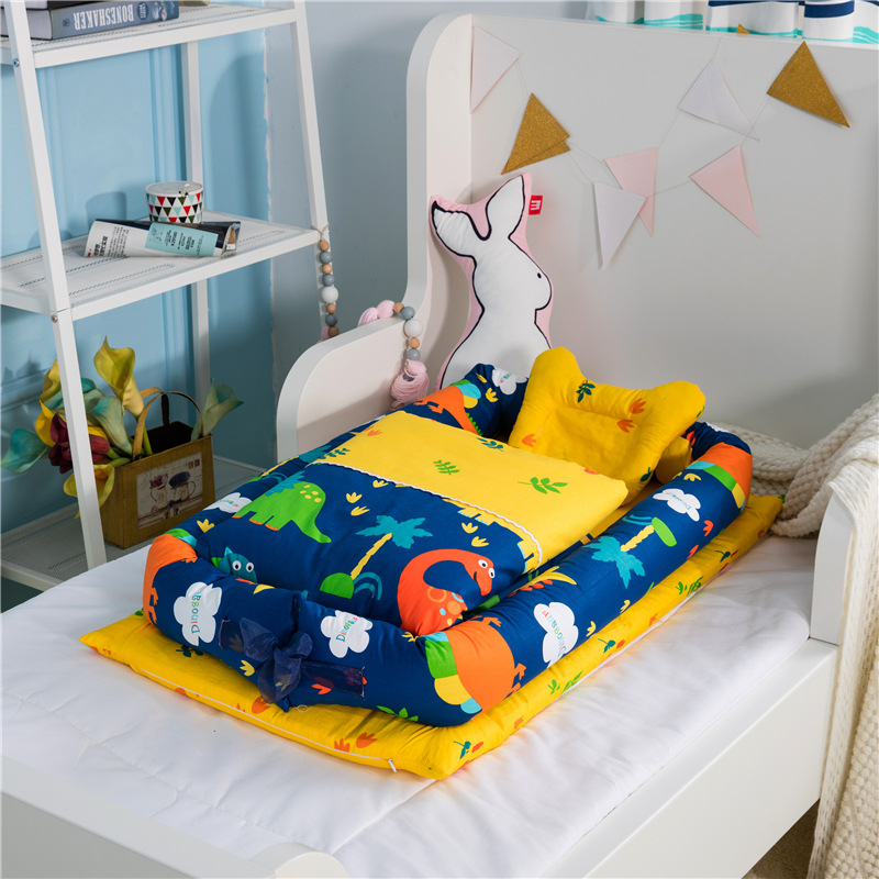 Portable Baby Crib With Quilt Infant Toddler Cradle Cot For Newborn Nursery Travel Folding Baby Nest Baby Bed For Baby Care luxury portable cradle newborn baby cradle multifunctional baby bed play bed with music toy can folding 2in1 crib cotton cot