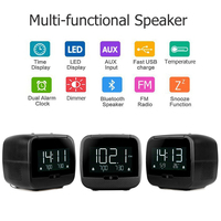 Multi Features 3.5'' LCD Digital Bluetooth Speaker Dual Alarm Clock FM Radio with Sleep Timer Snooze Dual USB Port 3.5mm AUX