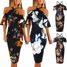 Women  Floral Off Shoulder Bodycon Slim Fit Dress for Evening Cocktail Party FDC99