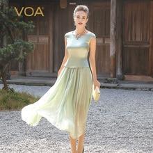 VOA 2017 Summer Light Green Simple Silk Dress Plus Size Short Sleeve Georgette Fake Two Piece Set Slim Women Dresses A5716