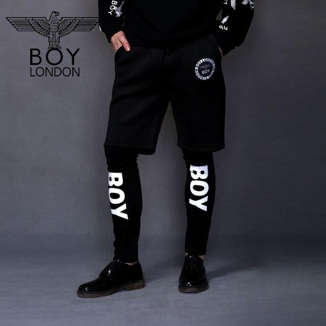 da4156503d261 BOY LONDON Male Fitness Long Pants Double Layer Twin Set Pants Men Trousers  Culottes Personality Printed Sportsuit Pants Black