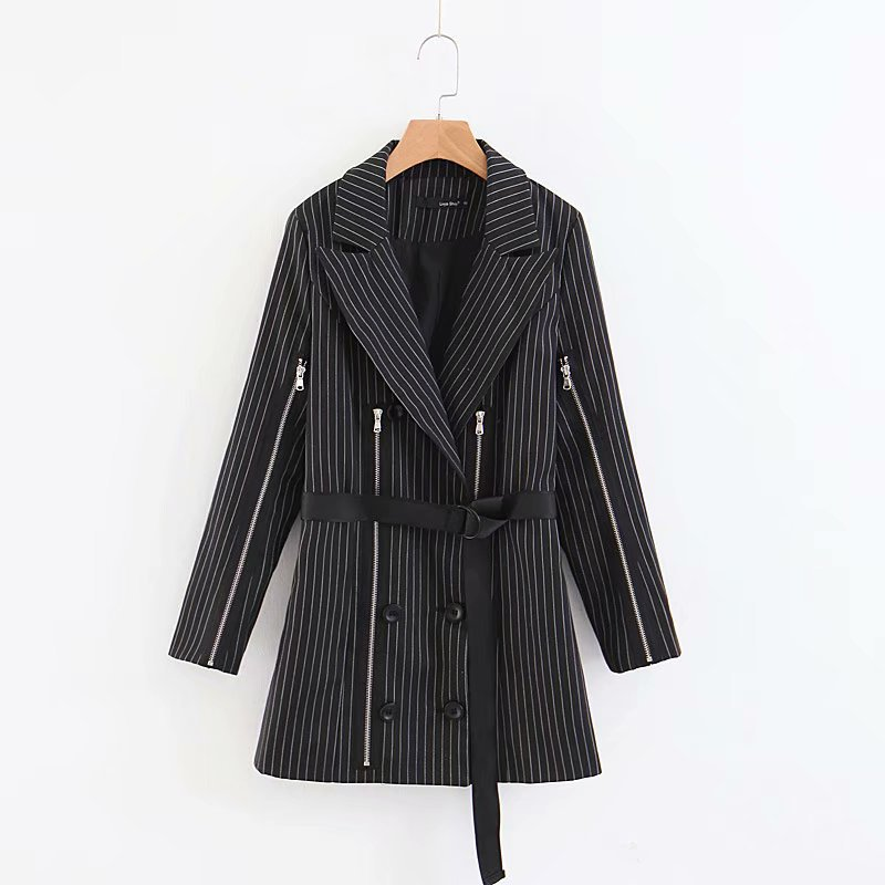 Cross-Border 2019 Fall European And American Street Zipper Decoration Stripes Back Waist Suit Coat Fashion Jackets Women