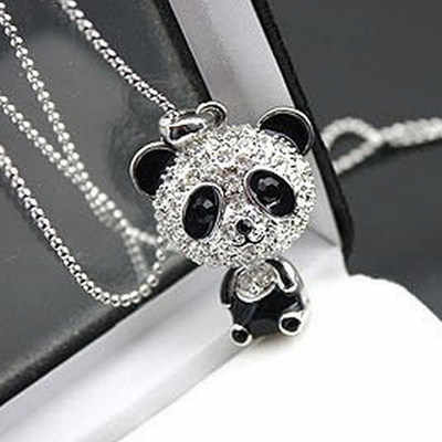 Classical female enamel rhinestone panda silver crystal pendant sweater chain necklace female charm necklace jewelry