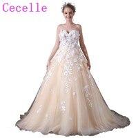Бальное платье шампанское красочные свадебные платья с 3D Цветы кружево принцессы Новинка 2019 года Свадебные Non белый индивидуальный заказ