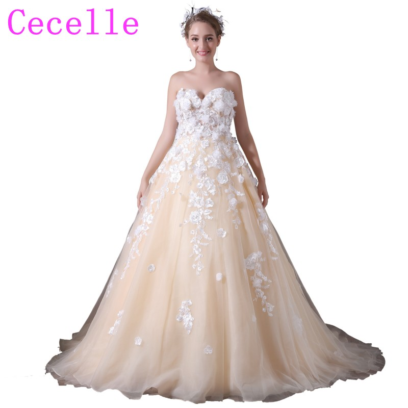 Ball Gown Champagne Colorful Wedding Dresses With 3D
