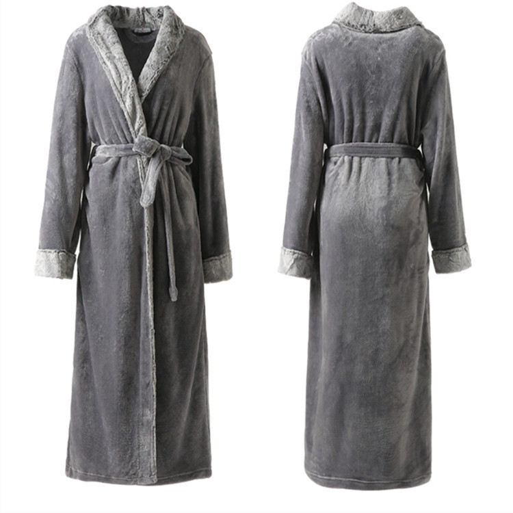 ZDFURS * Women Men fur Neck Thick Warm Long Flannel Bathrobe Plus Size Kimono Bath Robe Winter Peignoir Gown Bridesmaid Robes
