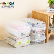 Clear Plastic Mens Shoes Stackable Shoe Box Travel Storage Container Organiser organizador de maquiagem plastic storage box 2017