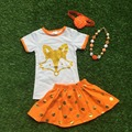 2016 girls clothes baby kids summer suit orange gold dot  fox short  dress boutique  with matching headwear and necklace set
