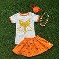 2016 muchachas de la ropa del bebé de los cabritos del verano naranja oro punto zorro vestido corto boutique con a juego headwear y el sistema del collar