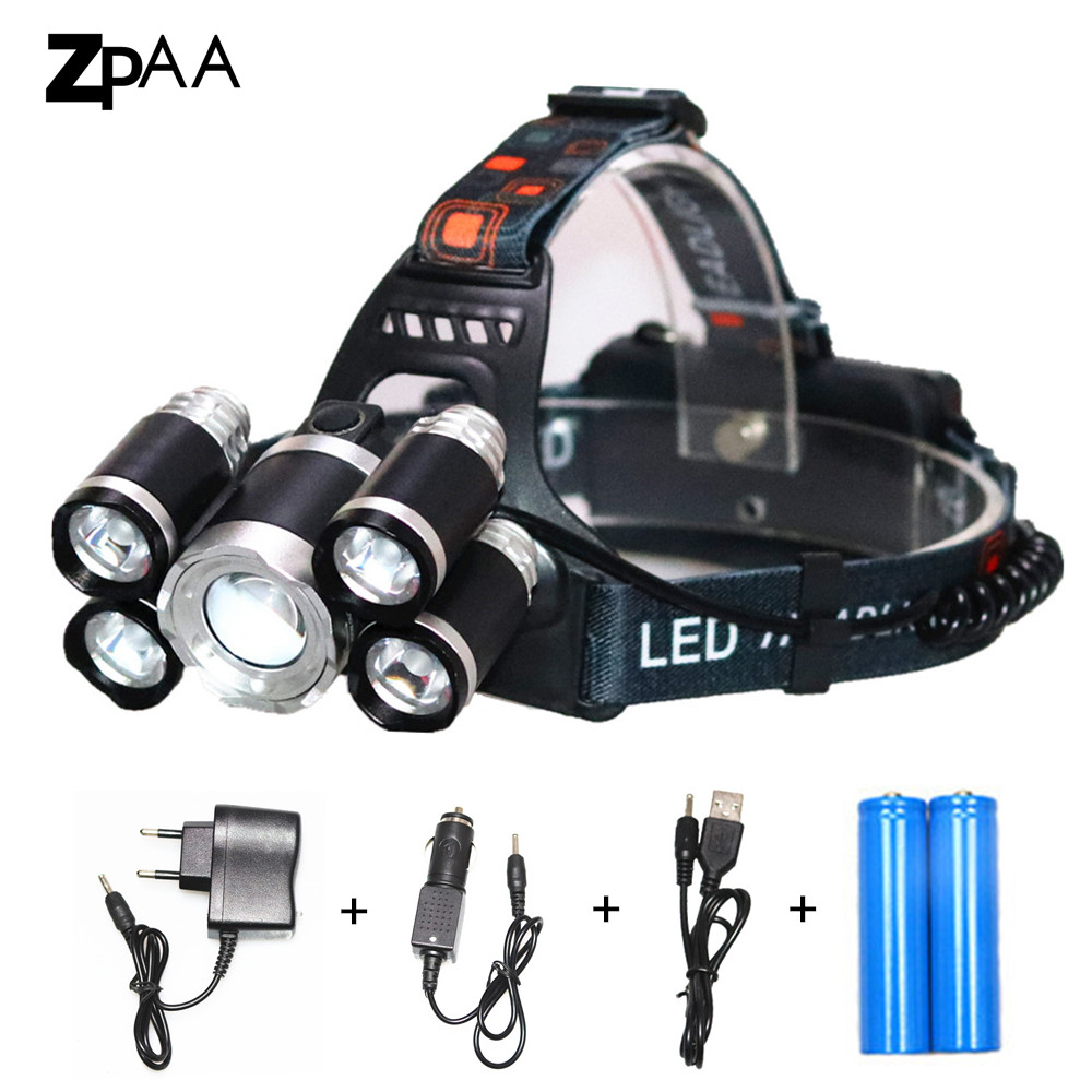 Zoom High Power Flashlight Headlight T6 LED 15000 Lumen Front Head Light 18650 Rechargeable Headlamp for Hunting and Fishing