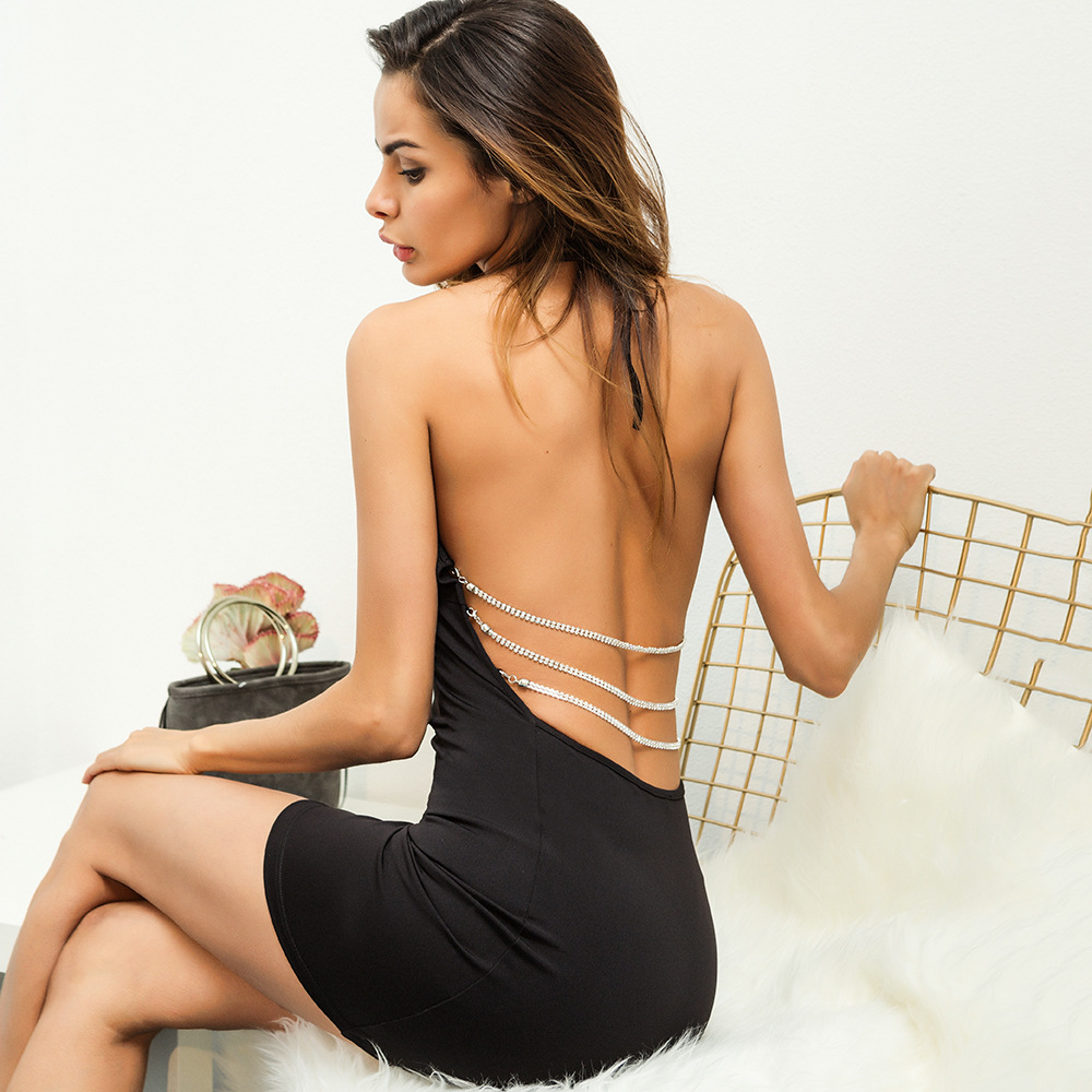 Women Dress Open-back Spaghetti Strap Hollow Metal Chain Wrapped Hip Sexy & Club Above Knee Dresses Mini Black&white