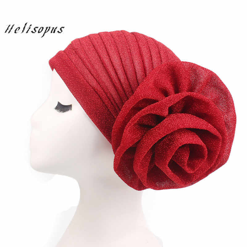 Helisopus New Bright Headband Silk Turban for Women Muslim India Hat Cap Big Flowers Women Hair Accessories for Ladies