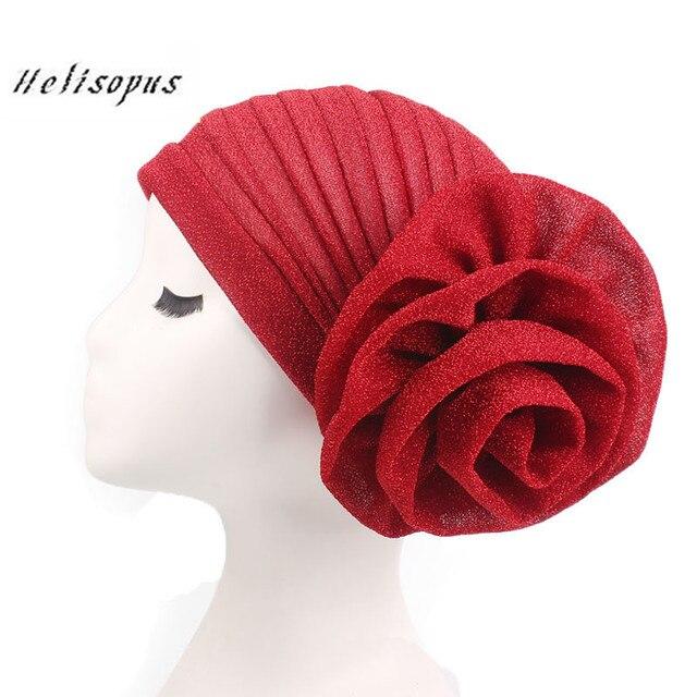 Helisopus Yeni Parlak Kafa Bandı Ipek Türban Kadınlar için Müslüman Hindistan Şapka Kap Büyük Çiçekler Kadın saç aksesuarları Bayanlar için