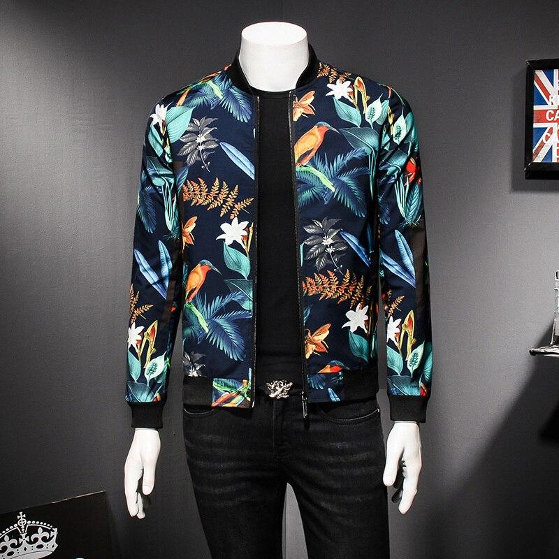 Hommes Motif Veste Imprimé floral Mâle Veste Vintage Classique Créateur De Mode Bomber Vestes Hommes Party Club Outfit Hommes oversize