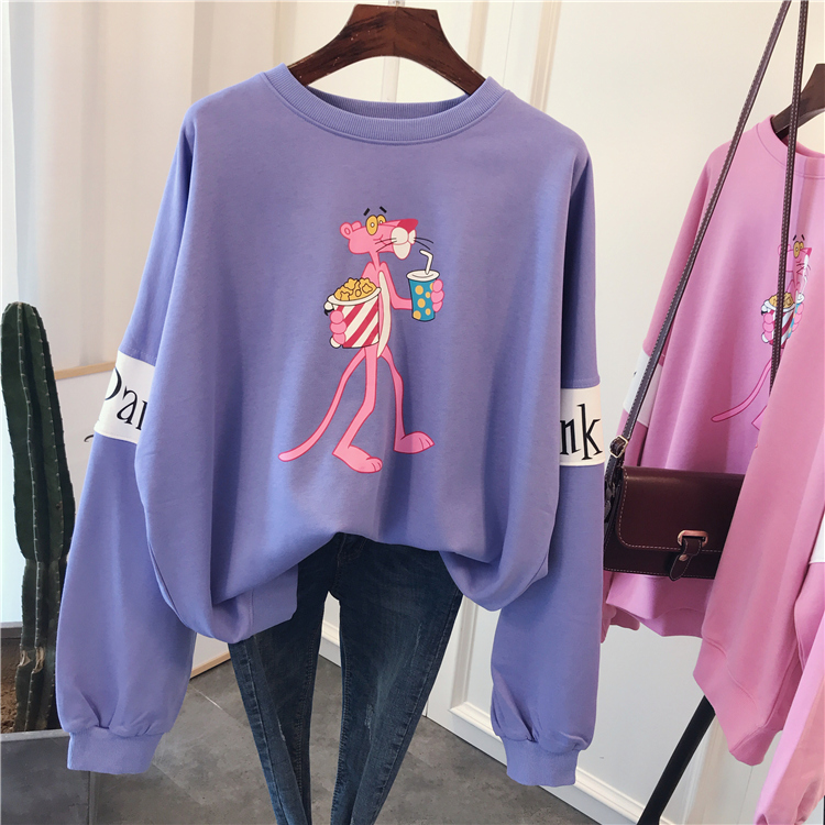 Cute Hoodies Women Pink Panther Loose terry cotton cartoon print Hoodies Sweatshirt