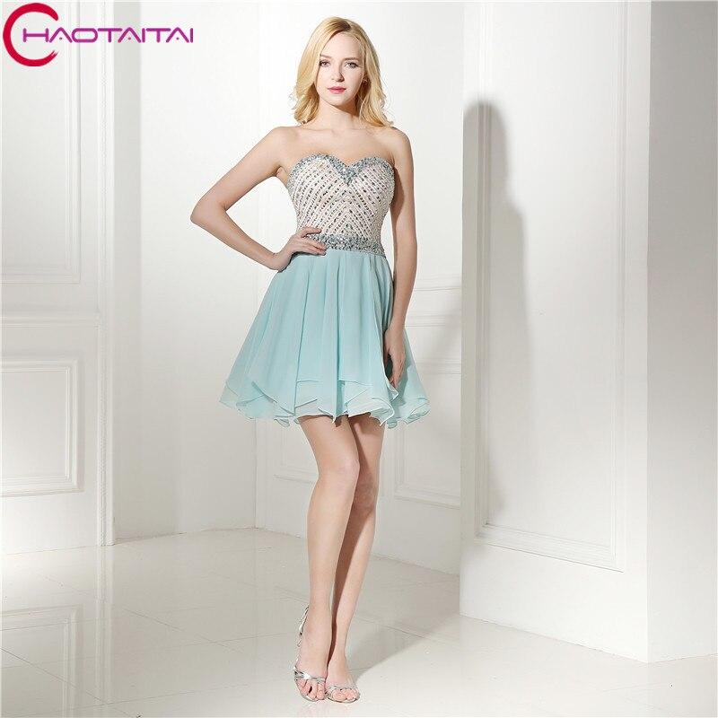 Sky Blue Sequins Beaded Short Prom Party Dresses Chiffon Mini