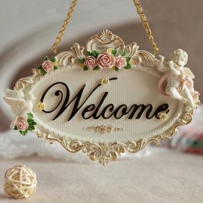welcome and Joilet  rose flowers resin door decoration Bathroom door listing  door plate