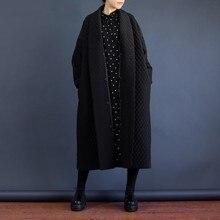[GUTU] 2017 Chaqueta Otoño Mujeres Grandes Marca Más Alta Calidad Europea de Corea Cazadora Gabardina Larga de Larga Floja Negro WTH1201