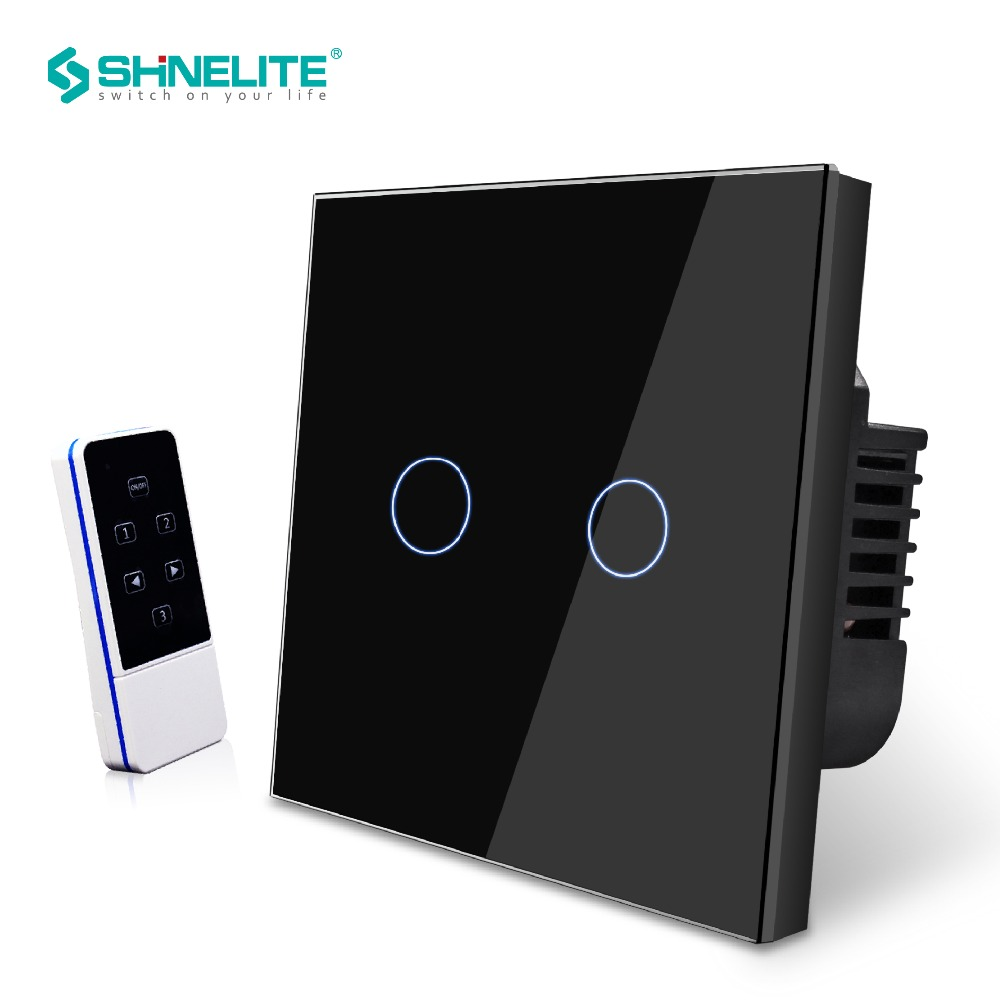 EU Standard Touch Light Wall Switch 2 Gang 1 Way Crystal Glass Panel Smart Remote Controller RF 433MHz AC 110V-240,Hot Sale hot sale eu standard 1 gang 2 way light wall touch switch crystal glass panel smart touch sensitive outlet touch switch 220v