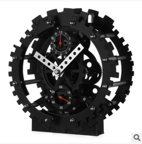 2017 New Arrival morden design black color gear clock
