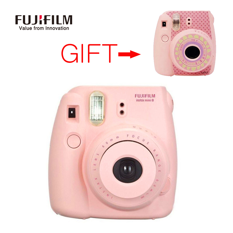 Fujifilm Instax Mini 8 Camera with Sunflower Stickers Fuji Mini8 Instant Film Photo Camera White Pink Blue Red Free shipping genuine compact fuji fujifilm instax mini 8 camera instant printing regular film snapshot shooting photos white red purple pink