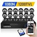 Defeway 1080n hdmi dvr 12 1200tvl 720 p hd outdoor home security Sistema de câmera de Vigilância de Vídeo De 16 CH DVR CCTV AHD Kit 2 TB HDD
