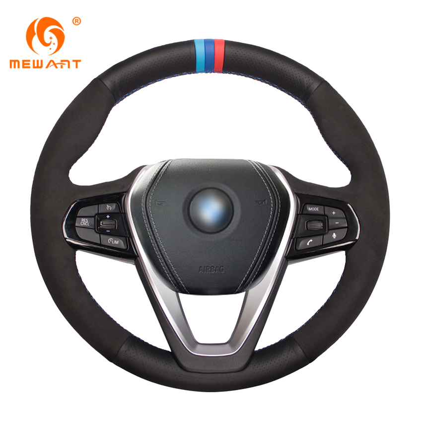 MEWANT Black Genuine Leather Suede Car Steering Wheel Cover for BMW G30 530i 540i 520d 530e 2016-2018 G32 630i 630d 2017-2018 mewant black genuine leather black suede car steering wheel cover for mitsubishi lancer ex outlander asx colt pajero sport