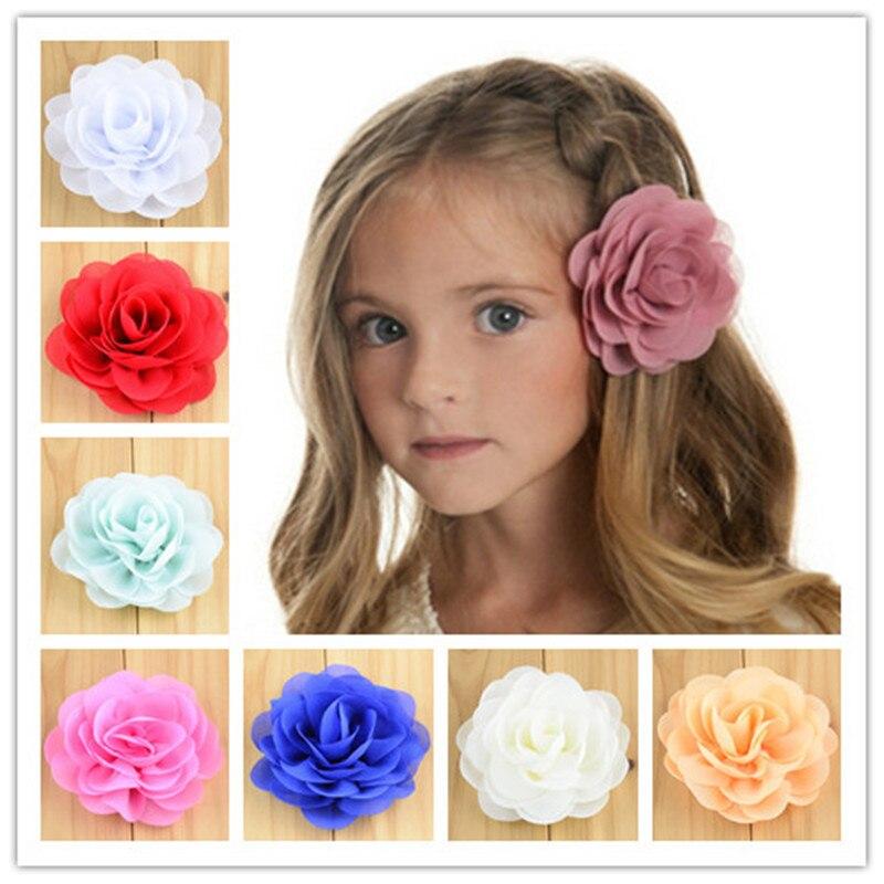 Wholesale 200pcs lot 28 Color 3 Chiffon Fabric Rosette Flowers With Clips Barrette Ornament Boutique Hair