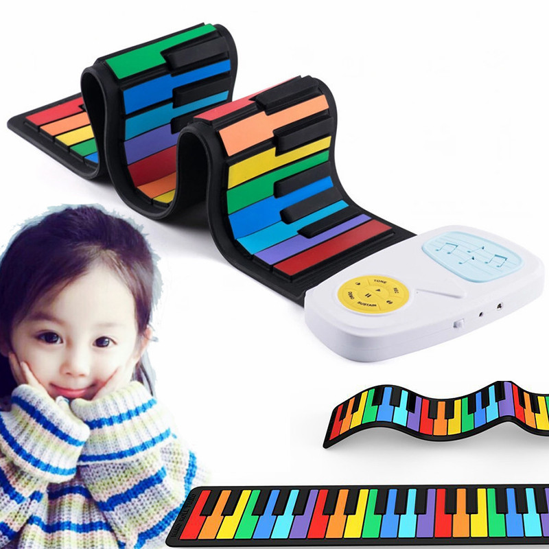 Colorful Flexible piano for Kids Electronic Keyboard Organ Enlightenment Music Gifts Children entry Hand Roll Rainbow Piano