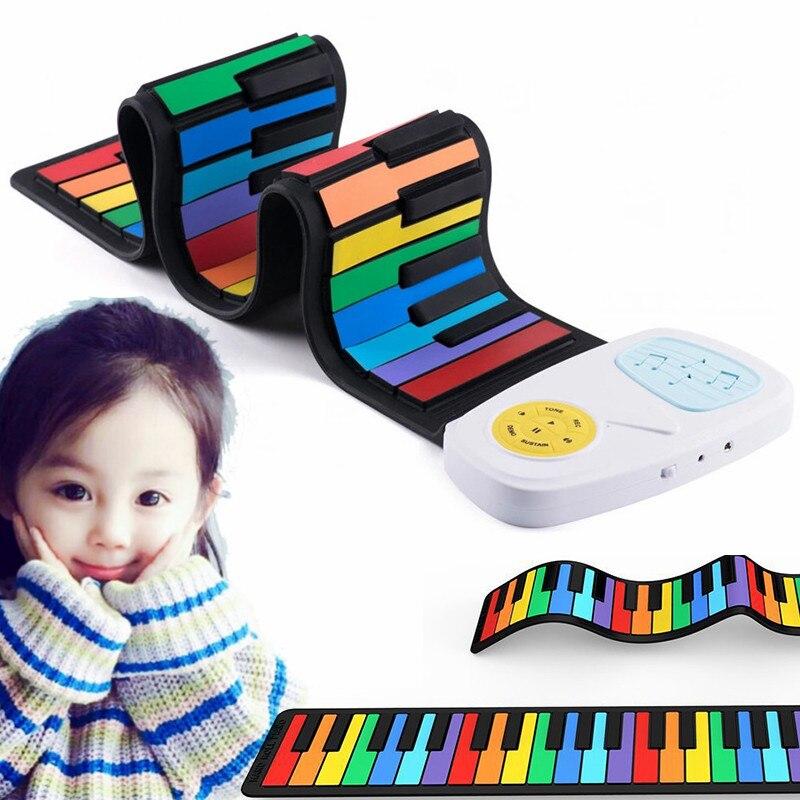 Piano Flexible coloré pour enfants clavier électronique orgue illumination musique cadeaux pour enfants entrée main rouleau arc-en-ciel Piano