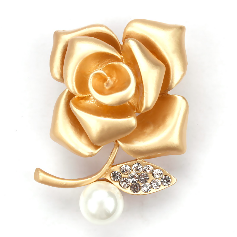 WEIMANJINGDIAN Brand Factory Direct Sale Golden Rose Flower Brooch Pins for Women or Lovers