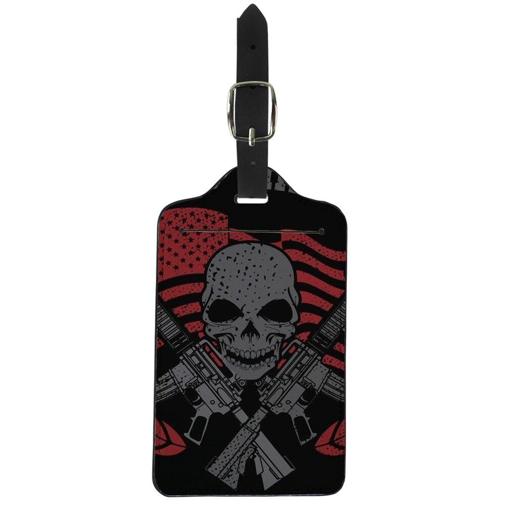 Elvisword черный США Череп пистолет печать чемодан ID addres держатель багажа чашку теги Портативный label Чемодан Туристические товары