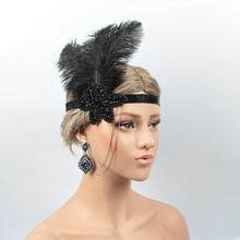 Золотой горный хрусталь аппликация искусственные повязка на голову с перьями флаппер нарядное платье костюм нарядная лента для волос головной убор 1920's Gatsby