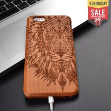 Lion and Elephant animal retro New Natural 100% solid Wood Skin Phone Case For iPhone 8 X 7 6 6S plus