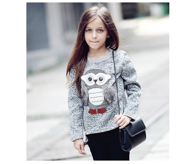new fashion Kids Girls Fleece Lined Zipper Sweatshirt Cartoon Cute Owl Casual Cotton Girls Winter Clothes girls sweatshirt HW101