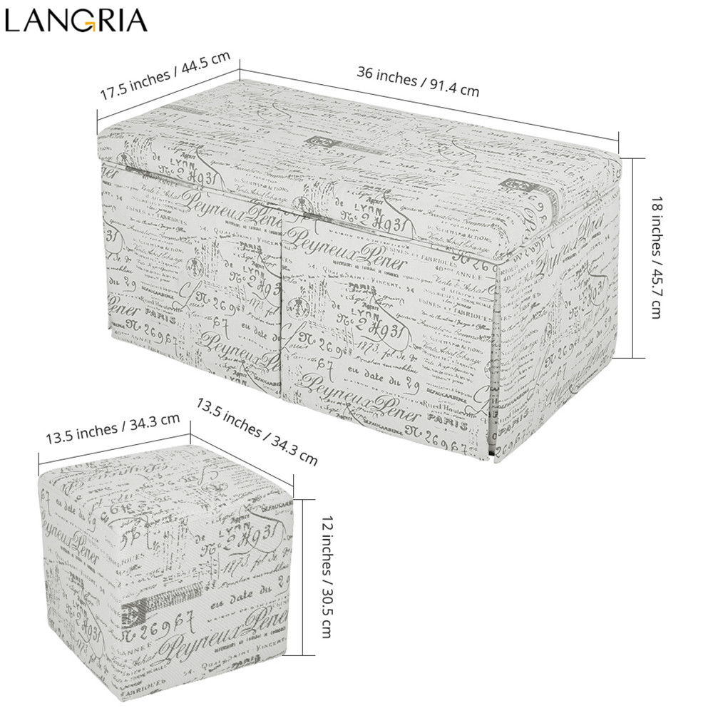 Langria 3 Piece French Script Patterned Fabric Storage Bench And