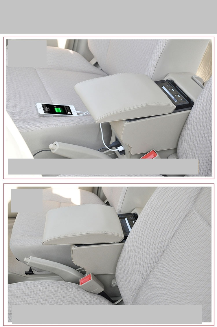 4 styles free punch wooden pu leather special car armrest box with 4 USB hole for NINI multifunctional car hand box