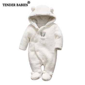 Для новорожденных одежда для малышей Медвежонок и Комбинезоны для девочек с капюшоном Плюшевый комбинезон зимние комбинезоны для детей Од...