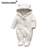 Tender Babies Newborn Baby Clothes Bear Baby Girl Boy Rompers Hooded Plush Jumpsuit Winter Overalls For