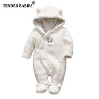 Ropa de bebé recién nacido oso Bebé y niñas monos de felpa con capucha mono de invierno para niños ropa de bebé Rupa menina