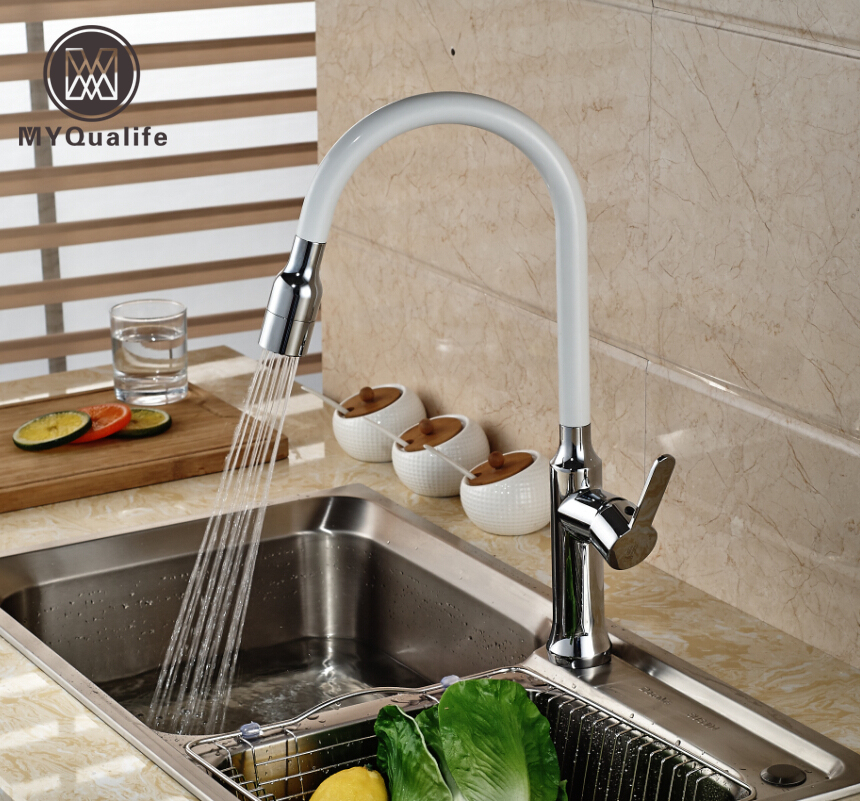 Chrome & White Pull Out Sprayer Kitchen Sink Faucet Deck Mount Tall Rotation Mixer Taps Hot and Cold Water Faucet цена и фото
