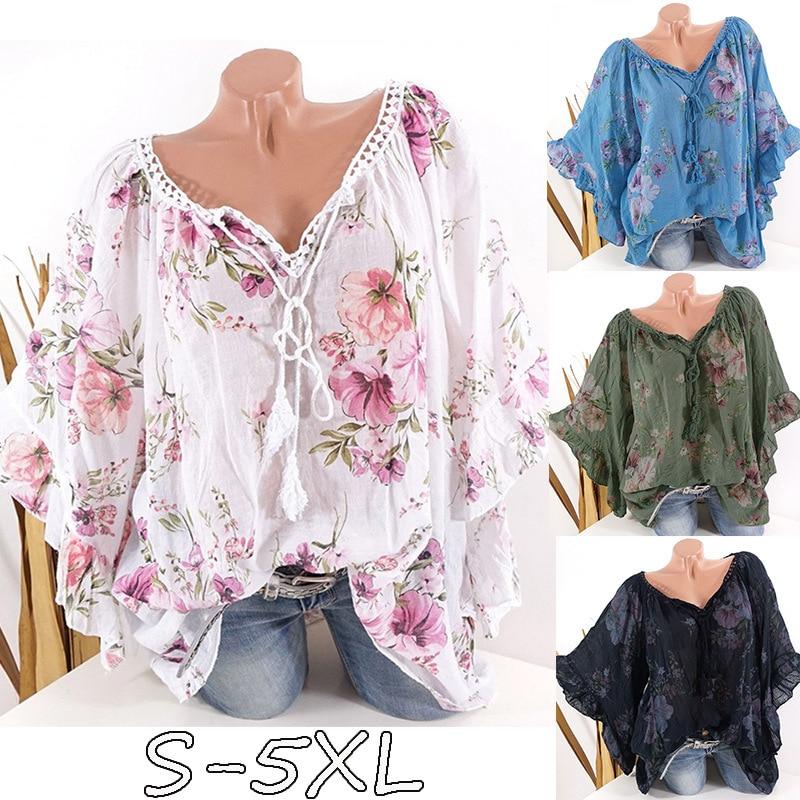 Large size womens blouse 2019 autumn large V-neck bat sleeve lace collar print shirt