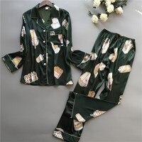 2019 New Lady Turn Gown Collar Shirt+Pants 2PCS Sleepwear Lounge Nightwear Set Satin Long Sleeve Pajama Pijama Suit Size L XL