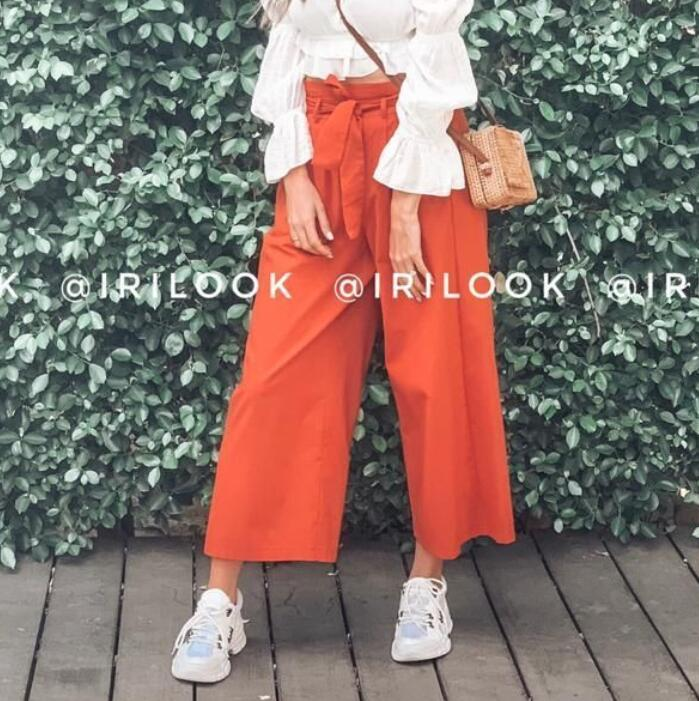 Summer Wide Leg Pants Women Drawstring High Waist Palazzo Pants Streetwear Vacation Loose Trousers Pantalon Femme